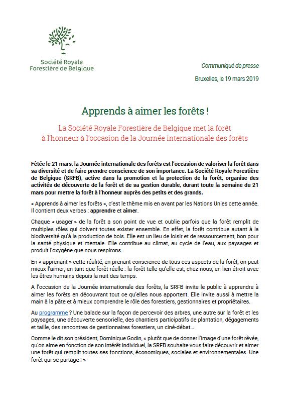 Communiqué de presse 19 mars 2019 - Apprends à aimer les forêts