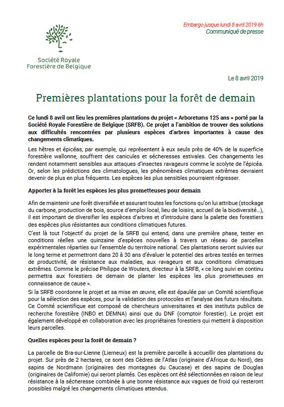 Communiqué de presse 8 avril 2019 - Premières plantations pour la forêt de demain